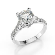 1 CT Diamond Engagement Ring Round Cut D/VS 14K White Gold Enhanced