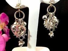 ULTRA RARE COUTURE CHRISTIAN DIOR STERLING LOGO HEART PIERCED CHARM EARRINGS