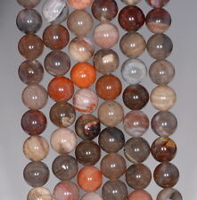 8MM PETRIFIED WOOD AGATE GEMSTONE GRADE AA DARK  ROUND 8MM LOOSE BEADS 7.5""