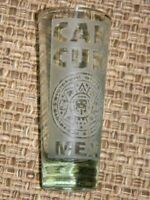 CANCUN Mexico- shot glass- part frosted glass-raised surfaces-souvenir