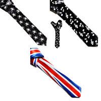 New Mens Slim Skinny Solid Color Plain Stripe Satin Tie Necktie Check Novelty