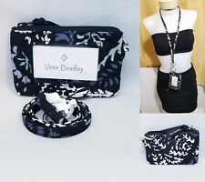 Vera Bradley Zip ID Case and Lanyard Paisley Noir Set Badge Holder Work School