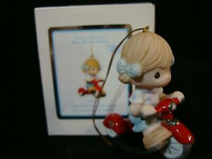Precious Moments Ornament-Girl Riding Red Tricycle-I feel The Need For Speed
