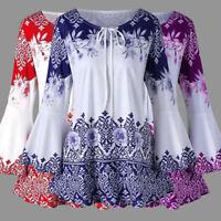 Women Ladies Retro Boho Floral Blouse Long Bell Sleeve Top Ladies Tunic Shirt