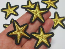 3 pcs star golden patches iron-on or sew-on applique embroidered army badge