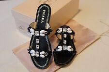 Prada Women's Embellished Black Flat Sandals Size 37 NEW In BOX