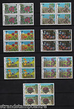 Greece - 1987 Wild Flowers - U/M BLOCKS of FOUR - SG 1830-36