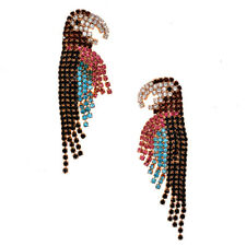 Gorgeous Long Colorful Crystal Parrot Bird Stud Dangle Statement Earrings