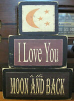 I Love You To The Moon And Back Primitive Rustic Stacking Blocks Wooden Sign Set