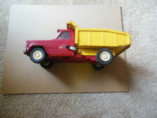 """Tonka Jeep Dump Truck Pressed Metal Red And Yellow - 9"""" long"""