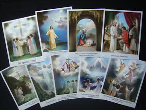 "Set of 9 Catholic APOSTLES CREED print PICTURES 8x10"" from Italy"