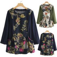 Mode Femme 100% coton Imprimé floral Manche Longue Couture Shirt Haut Tops Plus