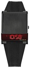New Bulova 98C135 Computron LED Digital Retro Black Rubber Strap Watch