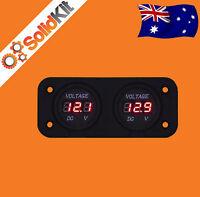 Dual Battery Monitor Digital Volt Meter LED 12v 24v DC Boat Marine AGM