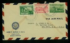 Dominican Republic 1938 Airmail Puerto Plata to Ny franked Scott C23, 261, 332
