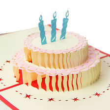 3D Paper Greeting Card Handmade Happy Birthday Gift Cake Candle 10*15cm