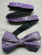 Nuevo De lujo seda MENS corbata de Moño Bowtie Pluma Gancho De Pesca Diseño reluciente púrpura
