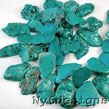 "* 30-40mm Green Magnesite Turquoise Slab Nugget Beads 15"" (TU531)j"