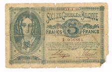 5 Frank/Franc  type   Generale Maatschappij     12.1.1915        Morin 9