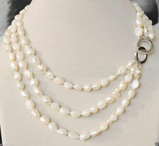 NEW 3 Rows 7-8mm real baroque white freshwater pearl jewelry necklace 17-20""