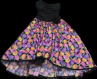 Vintage 1980s High Low Floral Dress Size S 8 80s Costume Retro Tulip Neon flower