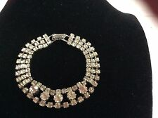 STUNNING VINTAGE ESTATE SILVER TONE CLEAR RHINESTONE BRACELET COSTUME JEWELRY