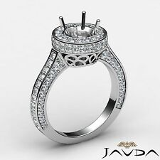 Round Semi Mount Diamond Engagement Halo Pave Channel Ring 18k White Gold