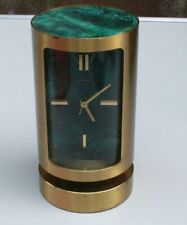 Reloj Despertador Vintage Swiza 8 día de latón y carro Cilíndrica Mármol Verde.