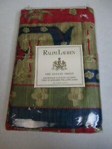 New Ralph Lauren Conservatory Red Egyptian Cotton 2 Standard Pillowcases