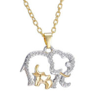 Qu_ Mother's Day Gift Cute Animal Double Elephant Pendant Necklace Jewelry Cheap