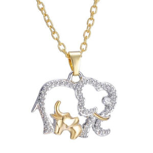 FT- Mother's Day Gift Cute Animal Double Elephant Pendant Necklace Jewelry Cheap