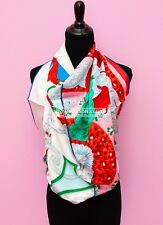 NEW HERMES PLUMETS DU ROY 90 36 WHITE RED SILK TWILL SCARF SHAWL CARRE WRAP t88