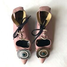 Toga Pulla Archives pink leather buckle laced party flats UK7 EU40 netaporter