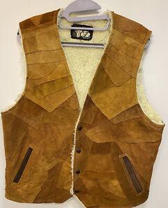 Vintage Mens Gilet XL  Leather  Distressed Deep Tan Pattern