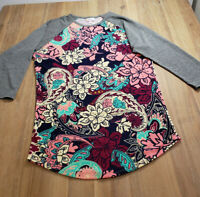 LulaRoe Womens Colorful Shirt Size S Multicolored 3/4 Sleeve Small Floral Gray