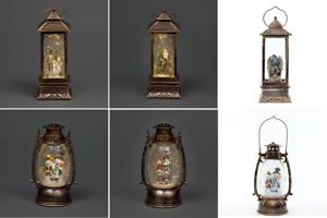 Christmas Lantern LED Glitter Musical Xmas Lights Up Home Window Decor Ornament