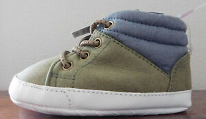 CARTERS INFANT/BABY Green & Gray HIGH TOP sneakers SIZE 6-9m NEW FREE SHIPPING