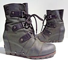 SOREL NL1987 Womens JOAN OF ARCTIC Black Leather Wedge Boots 8.5 Booties