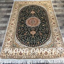 YILONG 4'x6' Silk Persian Hand Knotted Carpet Oriental Green Floor Rug Y411C