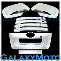 Chrome Mirror+4 Door Handle w/PSG KEYHO+Tailgate Cover for 13-15 Nissan Frontier