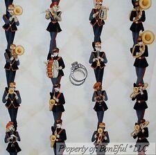 BonEful Fabric FQ Cotton Quilt Music Instrument Horn Drum Flute Jazz Band Stripe