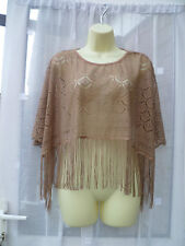 BEAUTIFUL BRONZE LACEY FRINGED CAPELET / PONCHO SZ 8/10 EVENING / ARM COVER UP