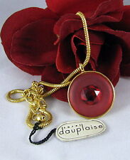New Dauplaise Vibrant Red Gold tone Necklace  CAT RESCUE