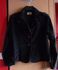 Zwarte fijnribfluwelen dames jas vest mantel  Maat 44/46