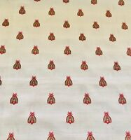 Beige Red Green Napoleonic Bee Pattern Empire Jacquard Brocade Upholstery Fabric
