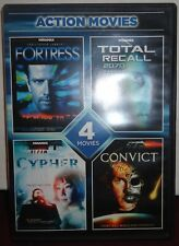 Used DVD - 4 Action Movies -Fortress -Total Recall 2070 -Cypher -Convict