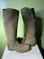 SENDRA Suede Tall Suede Brown Boots Size 8.5 Block Heel Made In Spain Hand made