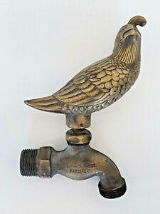 """Vintage Brass Flora & Fauna Bird Outdoor Garden Faucet Quail Spigot 3/4"""""""