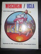1981 UNIVERSITY OF WISCONSIN BADGERS FOOTBALL PROGRAM VS UCLA BRUINS