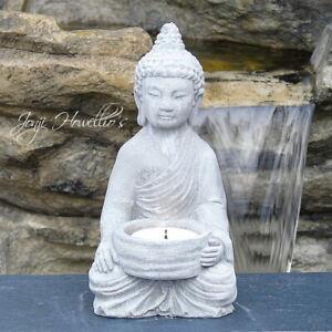 Thai BUDDHA CANDLE Tea Light Holder MEDITATING 15cm Statue Ornament Stone Effect